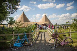 Bespoke Barn Weddings Bike hire decor