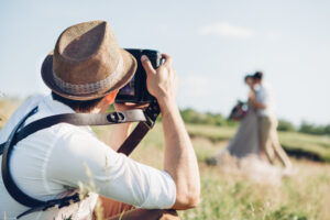 Bespoke Barn Weddings wedding photographer takes pictures of bride and groom in nature, fine art photo