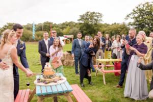 Bespoke Barn Weddings cake cutting